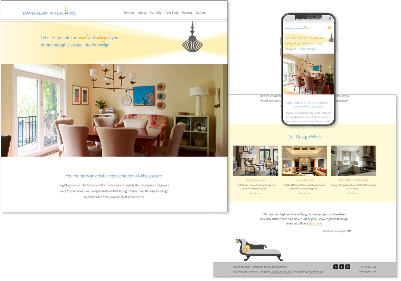 Image of custom website design for Daybreak Interiors.