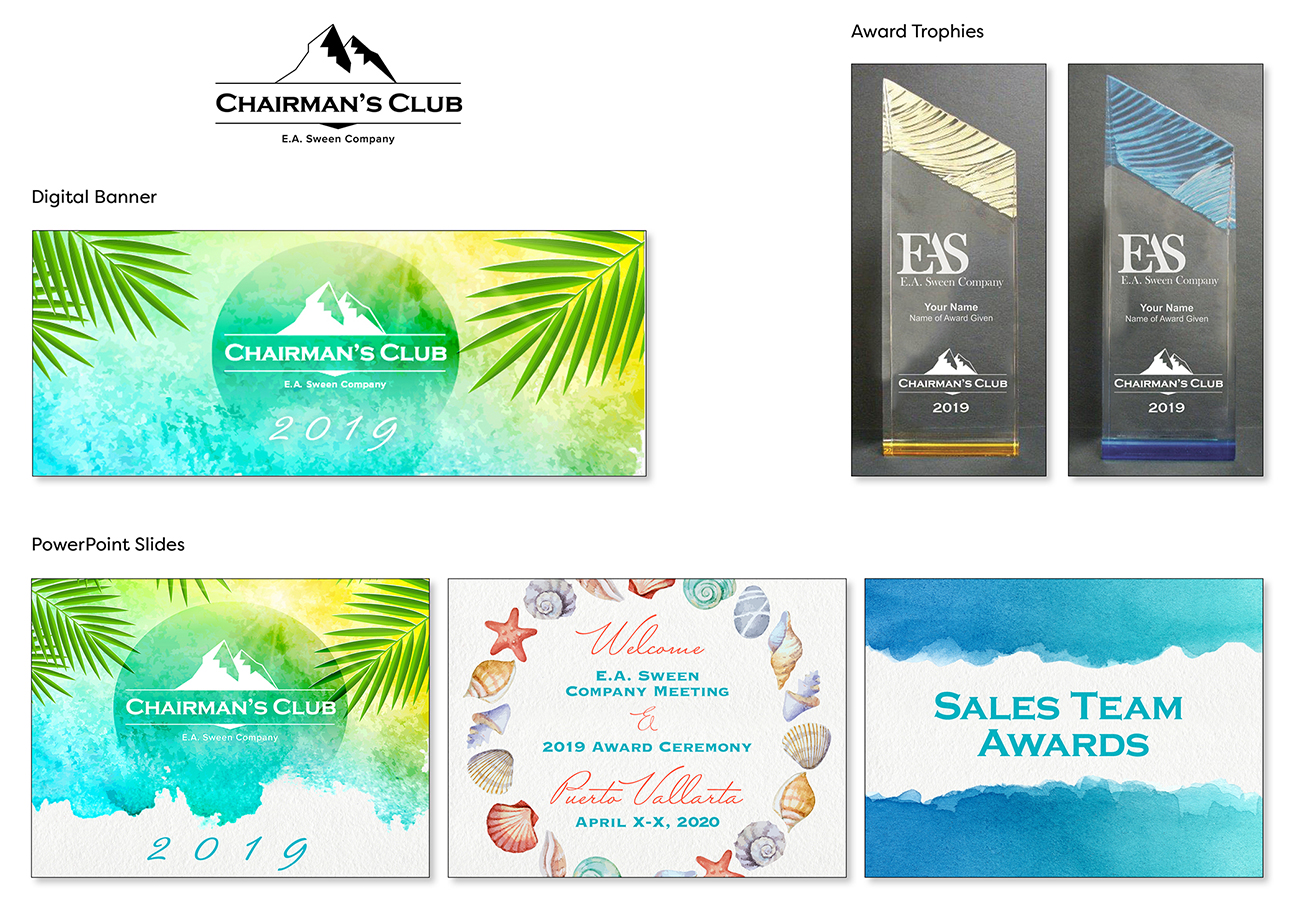 Images of logo, digital banner, PowerPoint slide deck, and award trophies with logos on them.