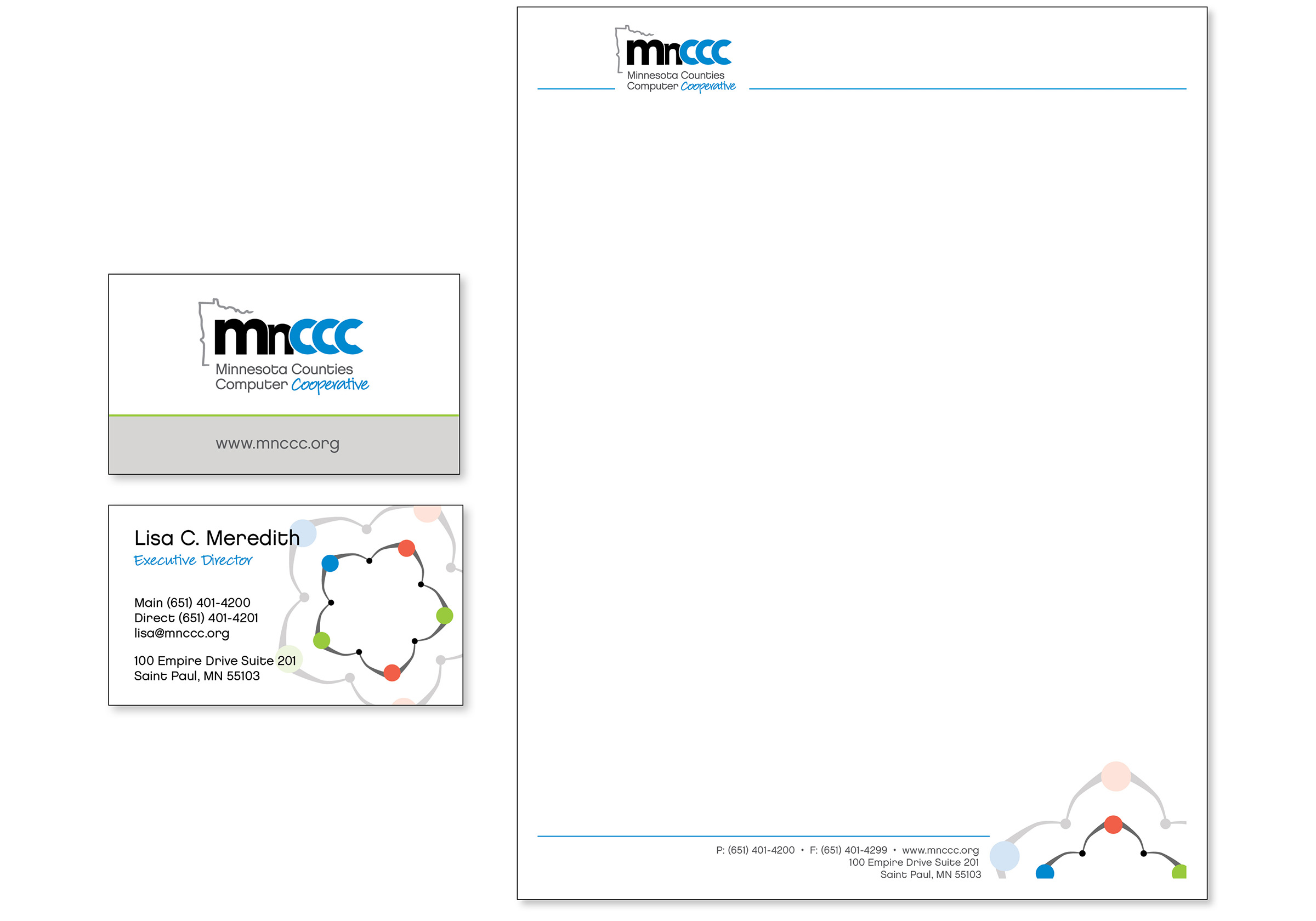 Image showing designs of identity materials created for MnCCC, including business cards and letterhead.