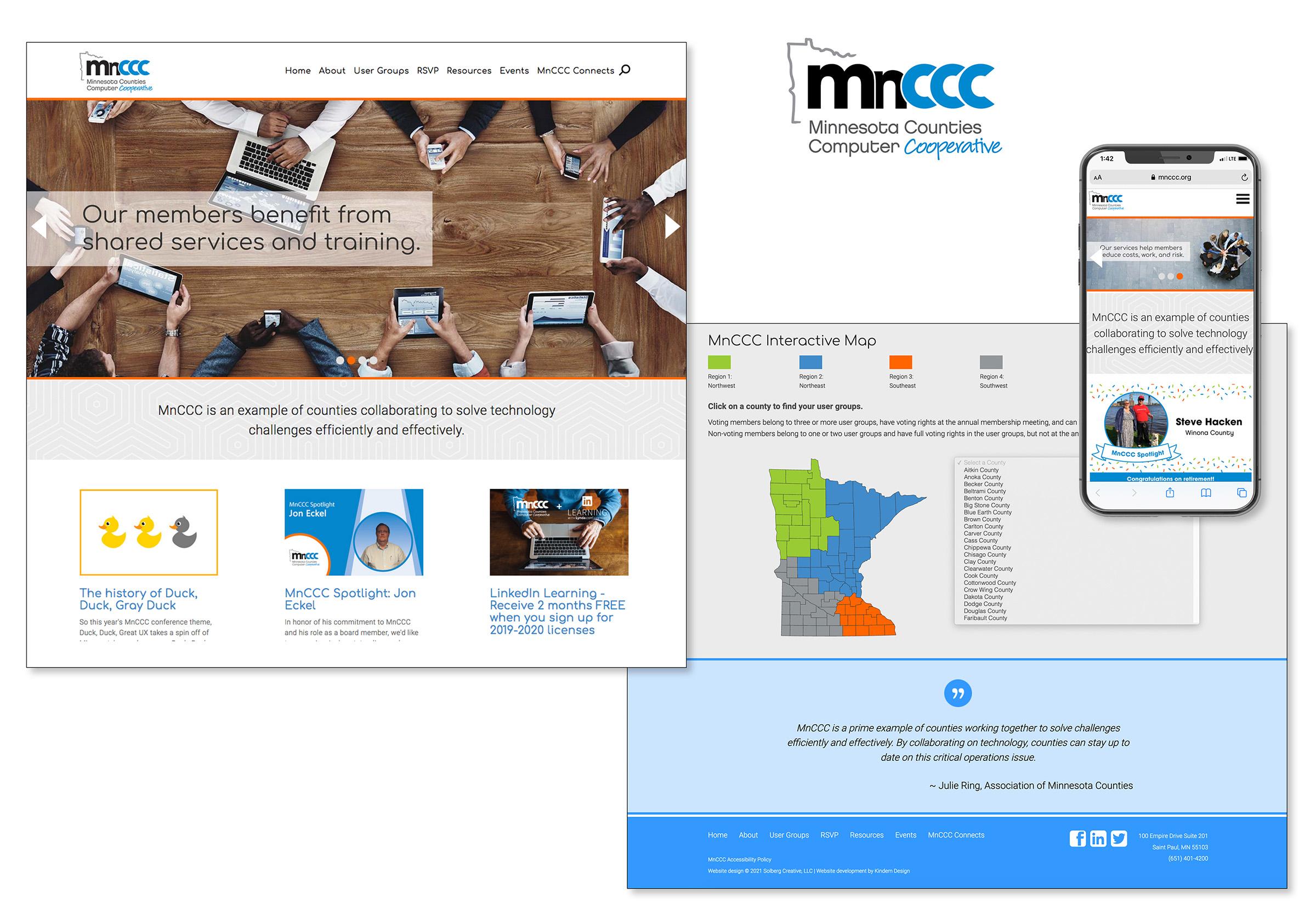 Image of website design for MnCCC, including desktop and mobile views.