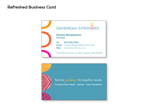 Image of front and back sides of the new business card. Front side has all 3 of the circles featured in the logo icon, along with name and contact info in blue text below the new logo. Back side has the new tagline in white and gold text on a dark teal background, next to 3 circles that feature fabric swatches in the same colors as the logo icon circles.