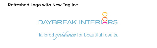 Image of new logo with shortened business name and new tagline. Text is blue, with the 'o' in 'Interiors' replaced by the same 3 vertically stacked circles in yellow, orange, and magenta representing the sunrise. The tagline is directly below the business name, in scripty font of the same blue color.