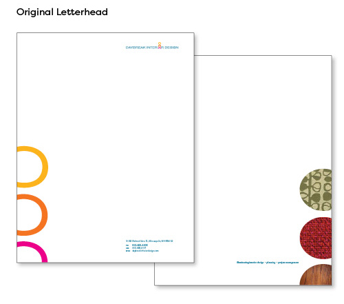 Image of old letterhead design, which features brand elements on the ftont, and a set of 3 vertically stacked circles on the back that are filled with different fabric swatch images.
