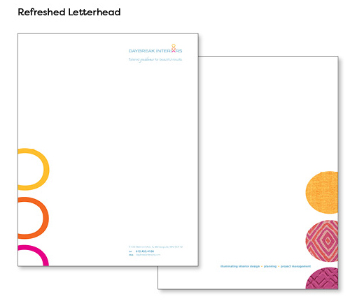 Image of refreshed letterhead design, which features updated logo and tagline on the front with the vertically stacked circles of the logo icon. Back of letterhead features 3 vertically stacked circles that echo the ones on the front, but are instead filled with fabric swatch images that match the colors in the logo icon.