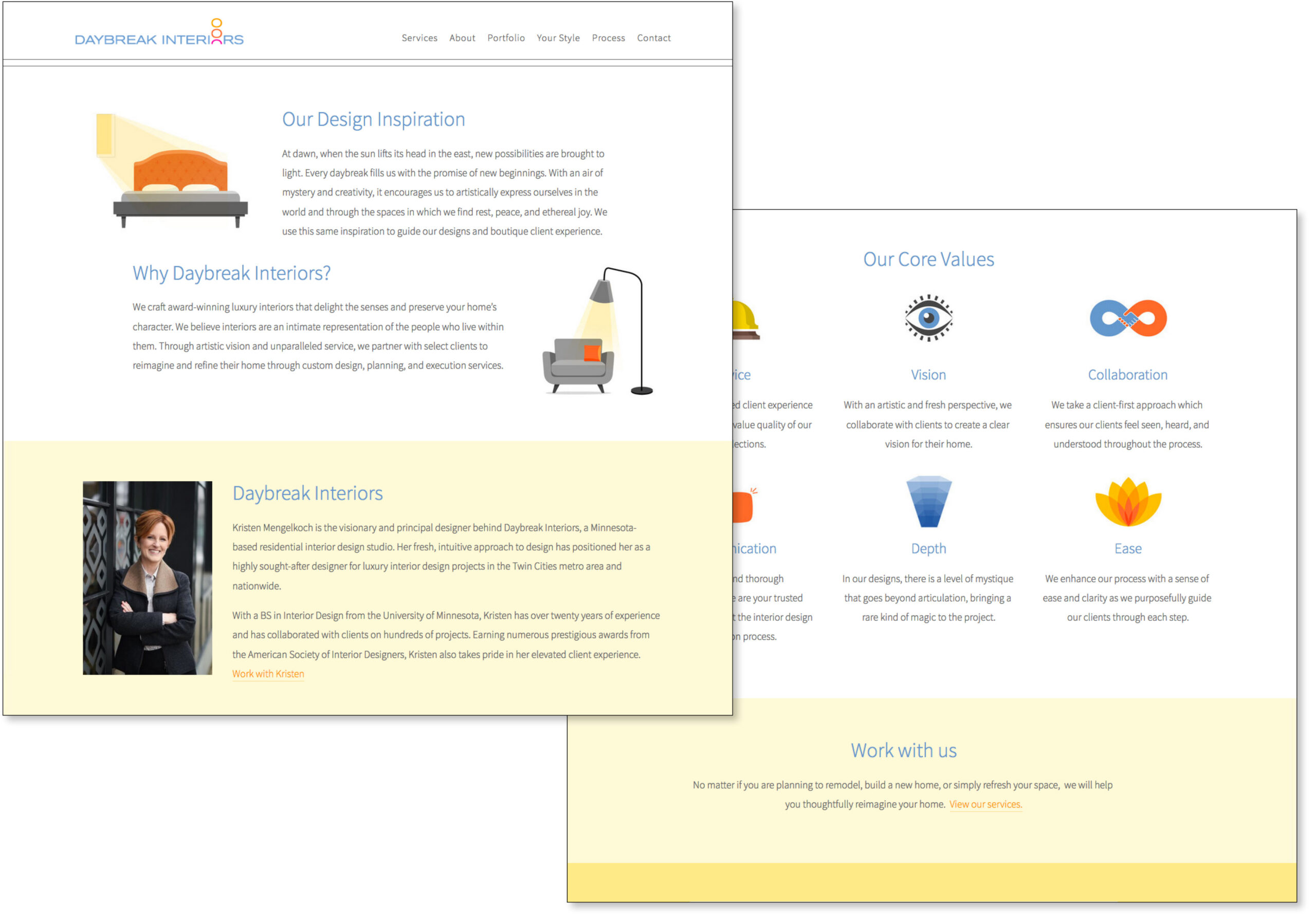 Image of the About page of the Daybreak website, featuring soft yellows and clean graphics in gray, blue and orange.