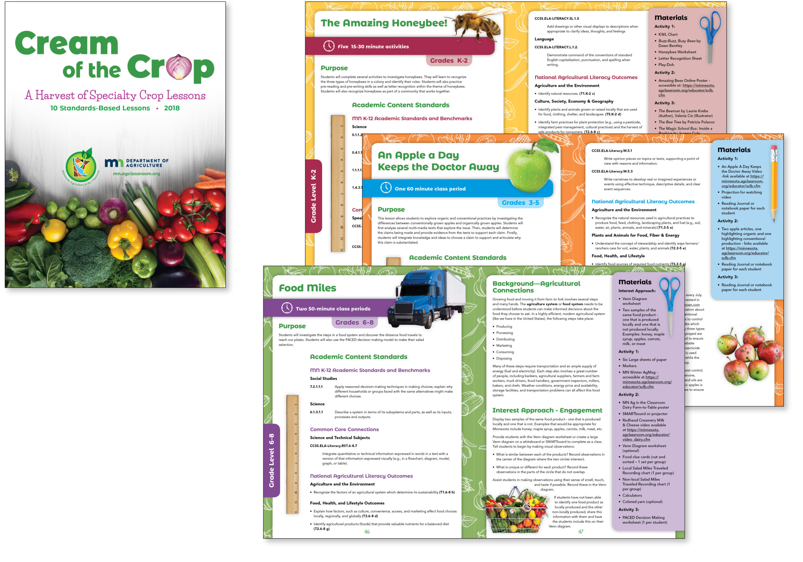 Image of teacher lesson book about Specialty Crops in Minnesota. Lessons are designed and differentiated by clean graphics and bright, fresh colors.