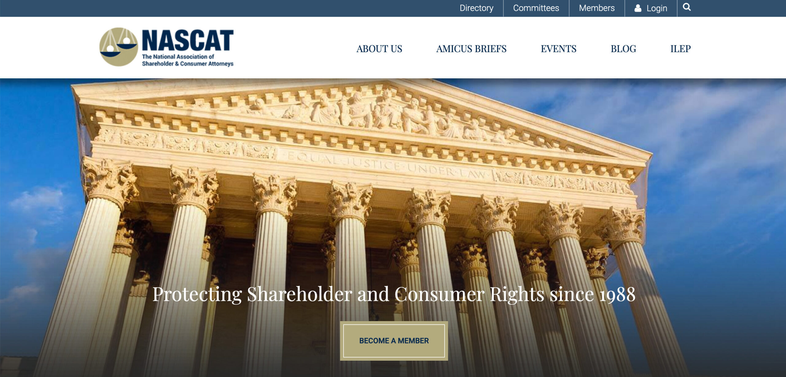 Image of the NASCAT Website home page.