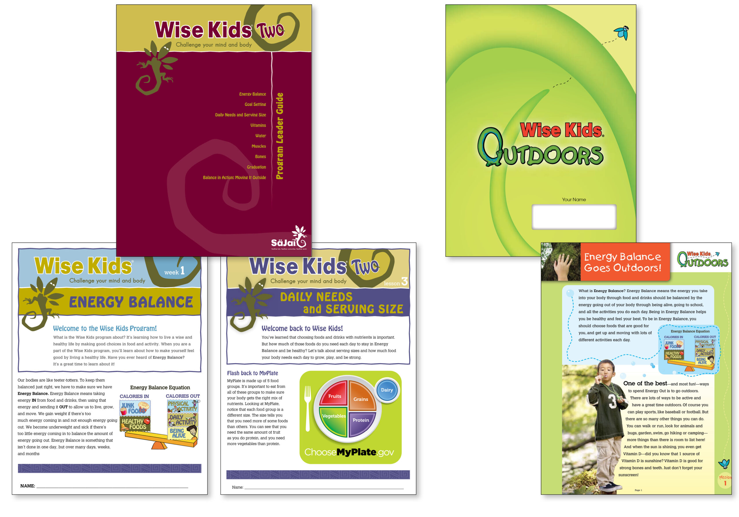Image of curriculum projects created for Sajai Foundation, including Wise Kids series 1 and 2, and Wise Kids Outdoors.