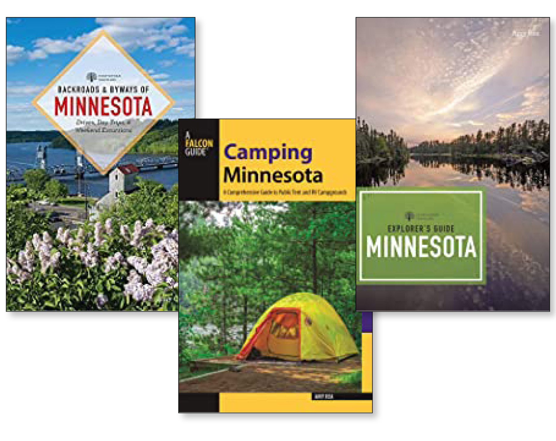 Image of book covers for variety of Minnesota travel guides.